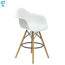 94982 Barneo N-153 Пластиковое кухонное высокое барное кресло на деревянном основании белое широкое кресло мебель для кухни высокое кресло для бара мебель в Казахстан Белоруссию по России