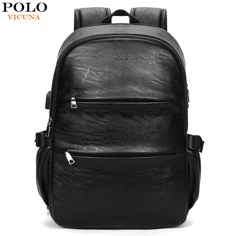 VICUNA POLO Leather Waterproof High Quality Men College Style School Backpack Bag USB Charging Laptop Business Backpack For MaleVICUNA POLO Leather Waterproof High Quality Men College Style School Backpack Bag USB Charging Laptop Business Backpack For Male