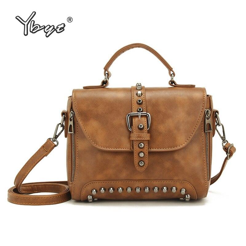 1fb0e0bb2 Vintage rebite casuais saco de compras pacote de mulheres pequenas senhoras  de couro PU ombro mensageiro sacos crossbody satchel zíper decorativo