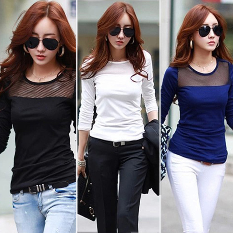 f9636d9567 Korean Fashion Women's Summer Style Cotton Lace Mesh Patchwork Long Sleeve  Shirts T Shirt Women Tops Tees T Shirt-in T-Shirts from Women's Clothing on  ...