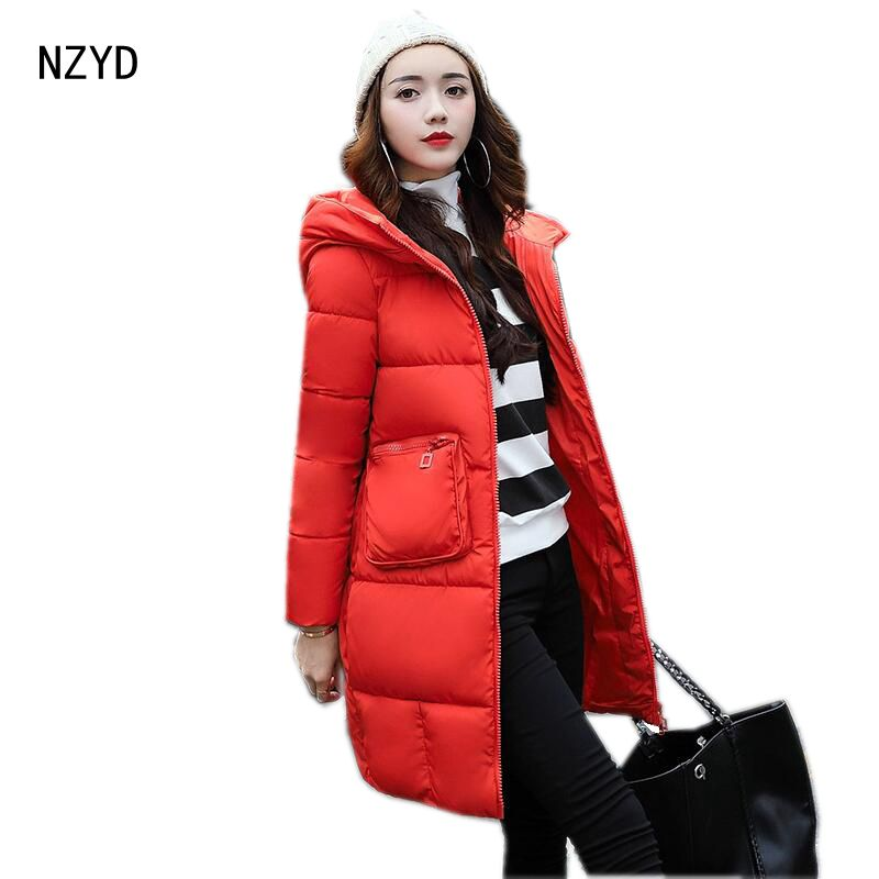 Winter Women Jacket Down 2017 New Hooded Thick Warm Medium long Solid color Coat Long sleeve Loose Big yards Parkas LADIES259 2017 new women winter parkas fashion hooded thick warm medium long down cotton jacket long sleeve loose big yards female coat