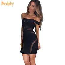 2017 New Women Top Quality White Black Off The Shoulder Bandage Dress Slash Neck See Through Celebrity Bodycon Dresses HL315