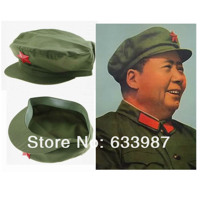 1pc New China Chairman Mao Tse Tung Pla Army Solr Green Cap Hat With Red Star Metal Badge