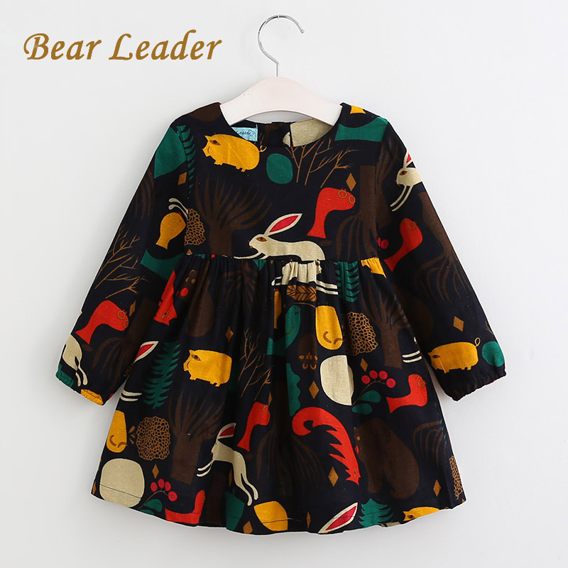 Bear Leader Girls Dress 2018 New Spring England Style Girls Clothes Long Sleeve Cartoon Forest Animals Graffiti for Kids Dresses bear leader girls dress 2017 new spring