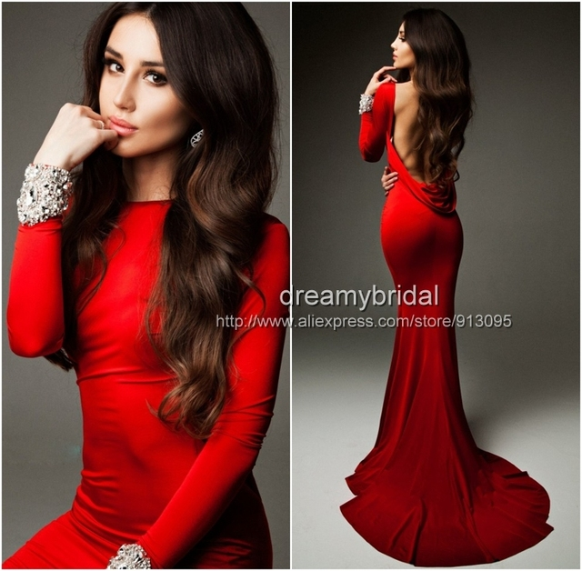 Wholesale - 2014 Cheap Sexy New Red Long Sleeves Jersey Mermaid Prom  Dresses Backless Ruffles Beaded Evening Gowns TE 92271 df1ce31d37ba
