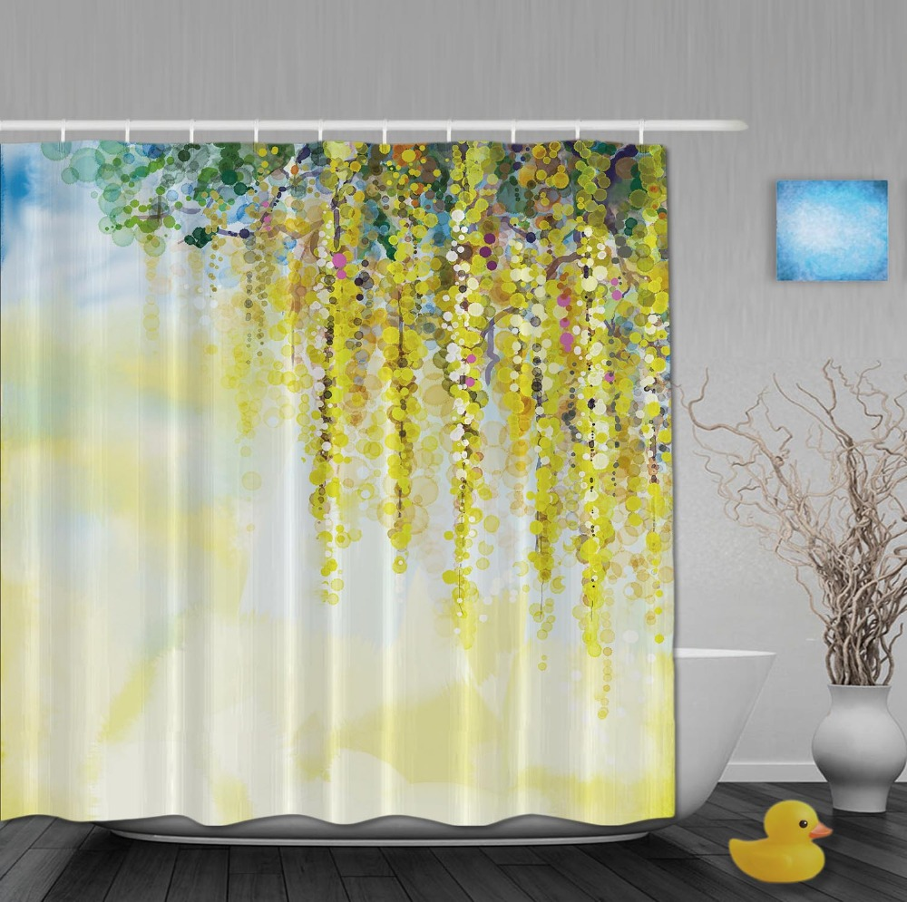 Custom watercolor drawing beautiful springday yellow flower shower custom watercolor drawing beautiful springday yellow flower shower curtains waterproof fabric with hooks bathroom shower curtain in shower curtains from mightylinksfo
