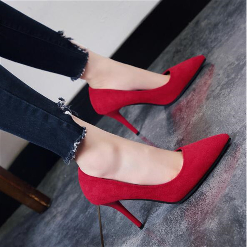 2019 Hot Sell Classic Women Shoes Pointed Toe Pumps Suede Dress High Heels Boat Wedding Zapatos Mujer Red Wedding