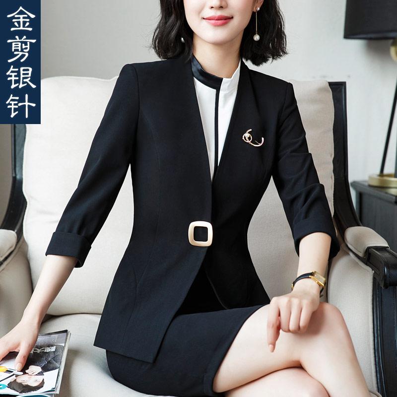 New Professional Office Lady Blazer Suit Female Fashion Elegant Blazer Summer Half Sleeve Slim Women Plus Size Formal Jacket