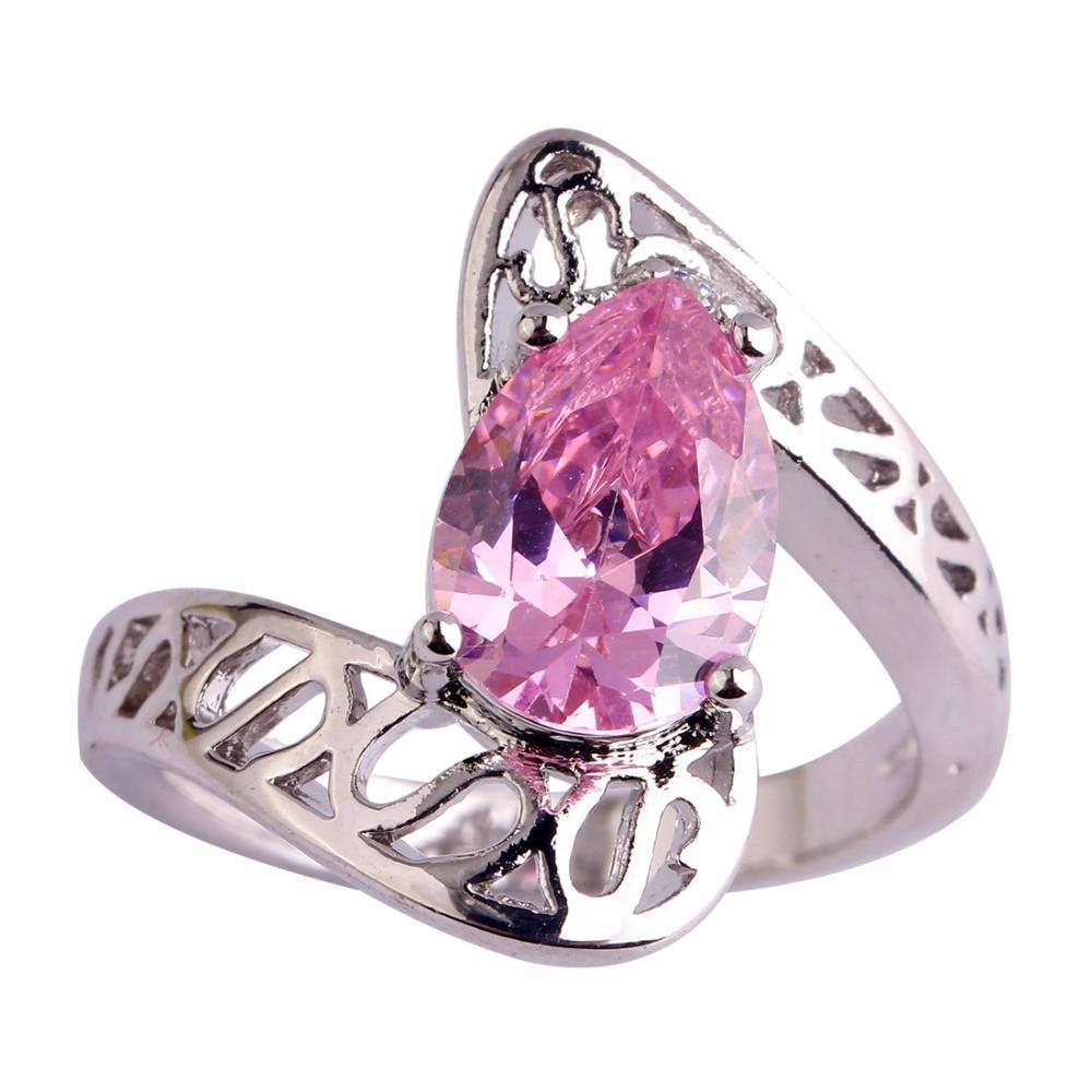 Aliexpress.com : Buy lingmei Pear Pink CZ & White CZ Silver Color ...