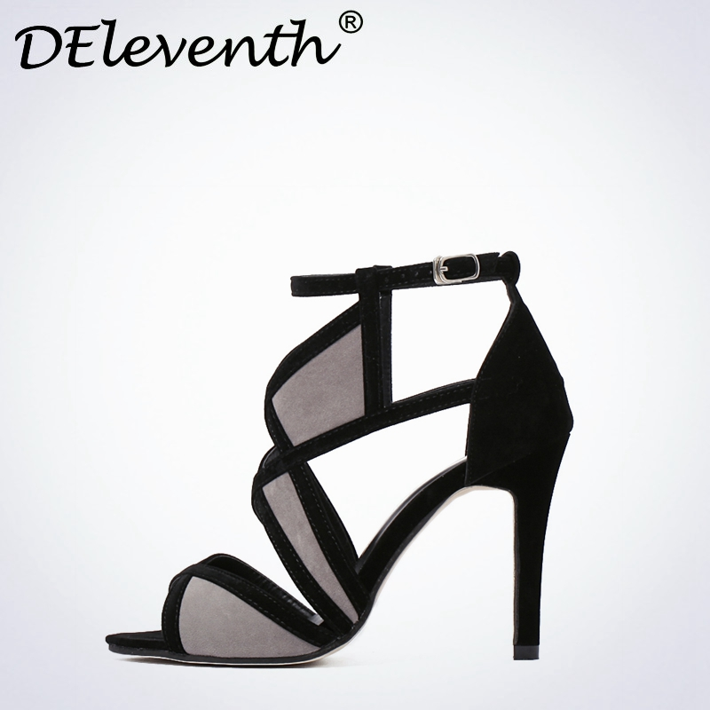 2017 New Vogue Cut-Outs Sexy Women's Peep Toe High Heels Sandals Shoes Woman Ankle Strap Buckle Shoes Suede Fretwork Black Grey atamjit singh pal paramjit kaur khinda and amarjit singh gill local drug delivery from concept to clinical applications