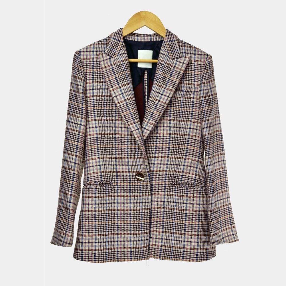 Laine D'hiver Angleterre Automne Mode Classique Plaid Mince Femmes 2018 Nouvelle De Blazer Manteau Style Et BAwxTT7