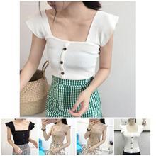 купить 2019 Newly Hot Women Summer Camisole Sleeveless Knitwear Slim Fit Square-cut Neck Female Vest MSK66 по цене 278.11 рублей