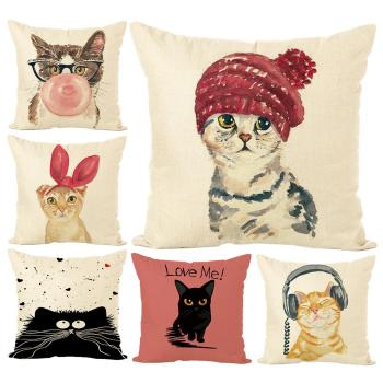 цена Cute Kitten Cushion Cover  45cm x 45cm Cotton Linen Square Home Decorative Sleeping Cat Throw Pillow Case Sofa Car Office Decor онлайн в 2017 году