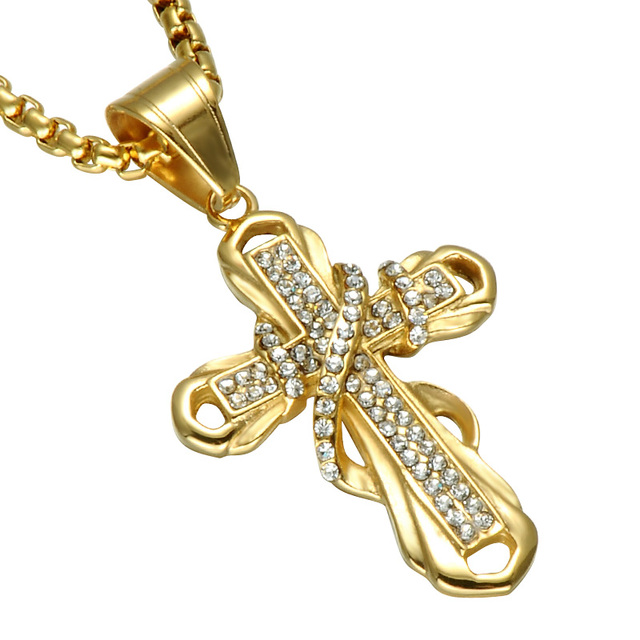Hip hop bling golden cross necklace gold color iced out stainless hip hop bling golden cross necklace gold color iced out stainless steel crystal cross pendants men mozeypictures Images