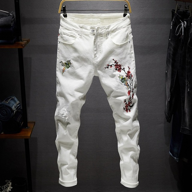Slim Stretchable White Pants With Embroidery  for Men