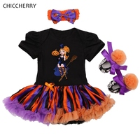 Little Witches Baby Girl Halloween Costume Infant Clothes Lace Petti Rompers Dress Headband Crib Shoes Girls