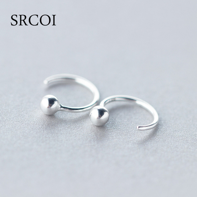 Personalized Fashion 925 Sterling Silver Earrings Hoop With Tiny Ball Round Hoops Small