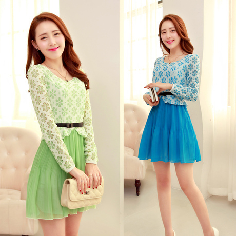 One Sale 2015 Spring And Autumn Style Korean Lace Print Chiffon Long