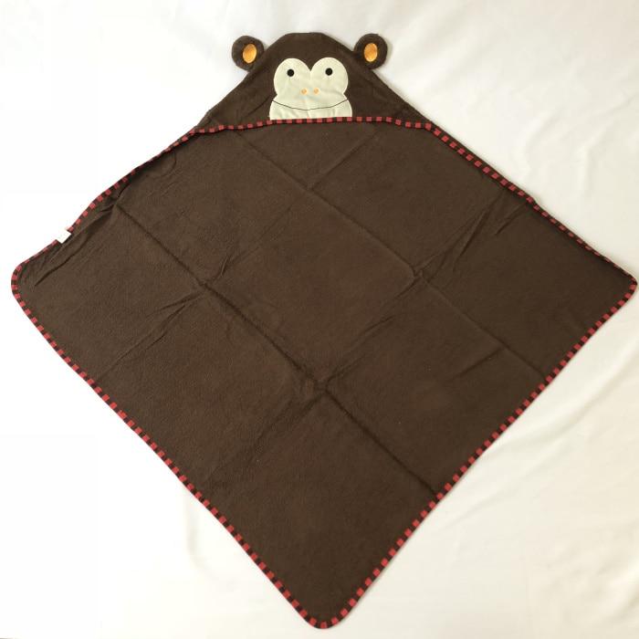 Детское махровое полотенце с капюшоном и изображением животных, халат с изображением животных для малышей, синий От 0 до 6 лет - Цвет: monkey
