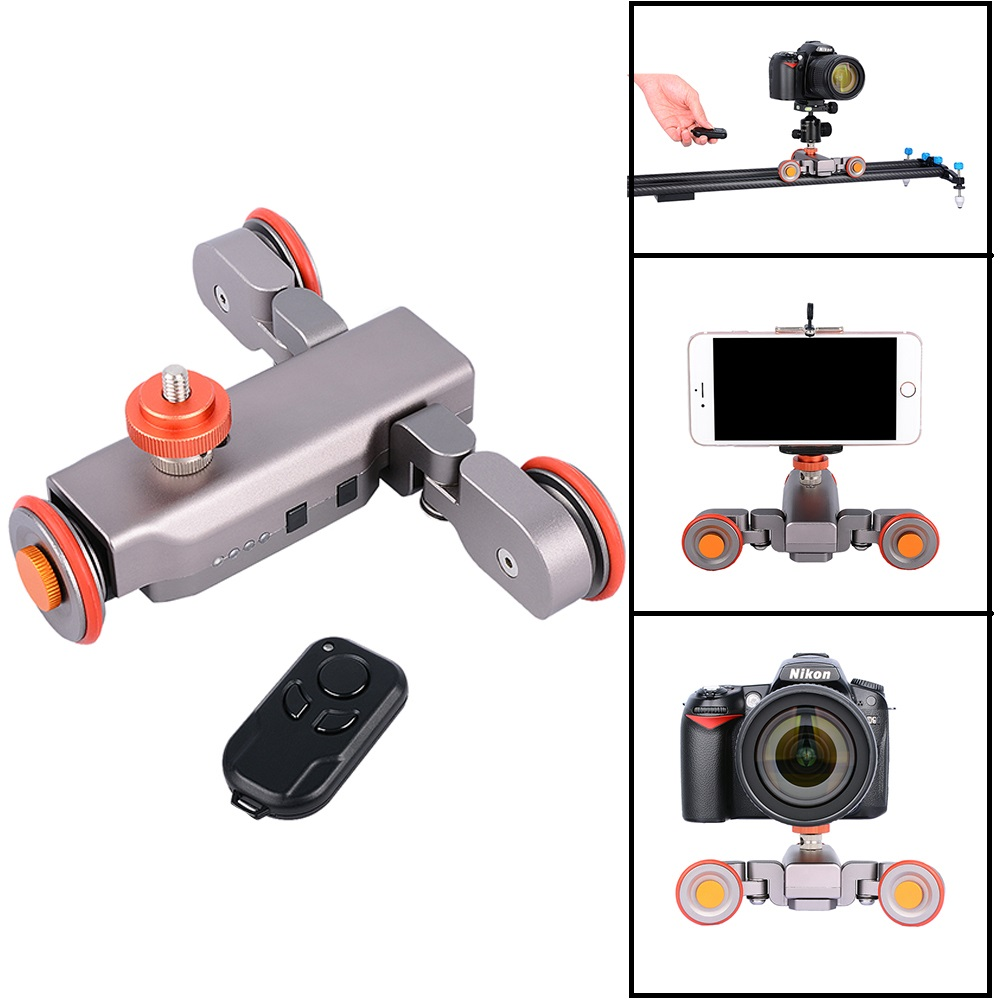 DIGITALFOTO Autodolly Wireless Remote camera Motorized Dolly Car DSLR Electric Track Slider Video Pulley Rolling Skater