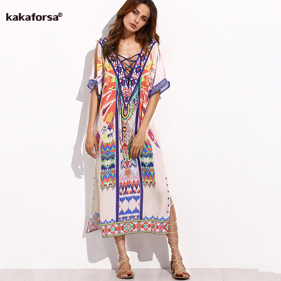 Kakaforsa 2018 Women Sexy Beach Cover Up Large Size Swimsuit Bikini Cover Ups Swimwear V Neck Beach Dress Summer Robe De Plage ...