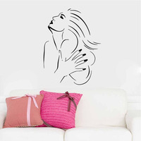 Beauty Lady Wall Decal Salon Living Room Bedroom Waterproof Vinyl Sticker Hair Nail Shop Window Wall