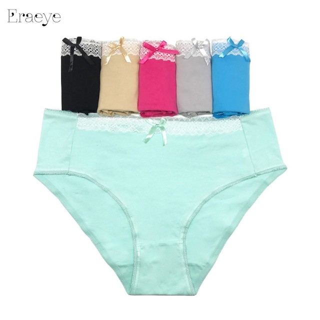 3f1050d93a5 ERAEYE Plus Size 4XL 5pcs lot New Women s Cotton Panties Girl Briefs Ms. Cotton  Underwear Bikini Underwear Sexy Ladies Briefs