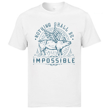 Faddish Vintage Mens Cotton T Shirts Nothing Shall Be Impossible Fly Pig Funny Picture Tshirts High Quality Clothing Shirt