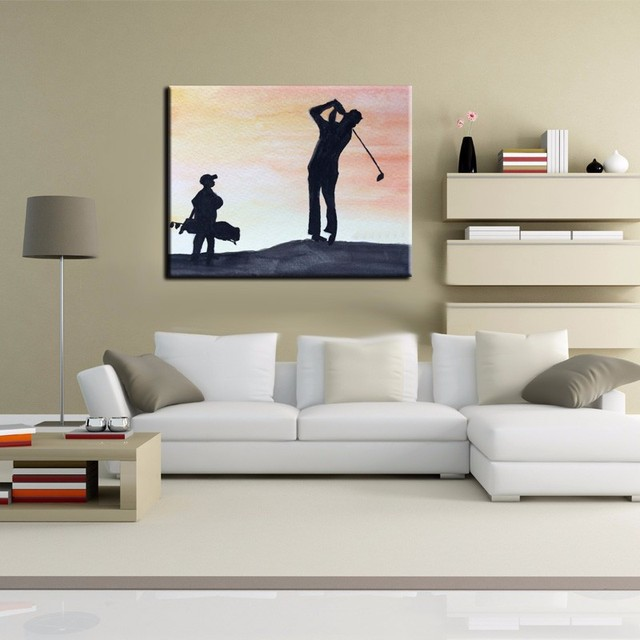 Charming 100%Handpainted The Man Favorite Outdoor Sport Golf Oil Painting On Canvas  Best Wall Art