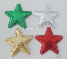 PANVLL 200db 36mm csillag appliques Párnázott filc motívum Arany / ezüst / piros / zöld karácsonyi fesztivál dekoráció DIY kézműves kellékek