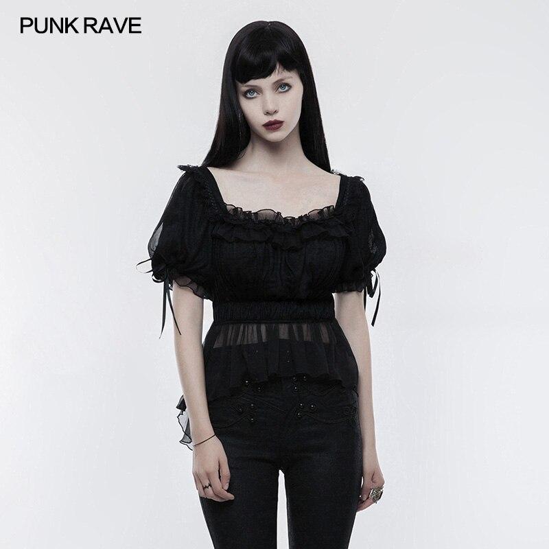 Fashion Gothic Lolita Short Sleeve Shirt Top Summer Victorian Punk Rave LT011 Brand Quality