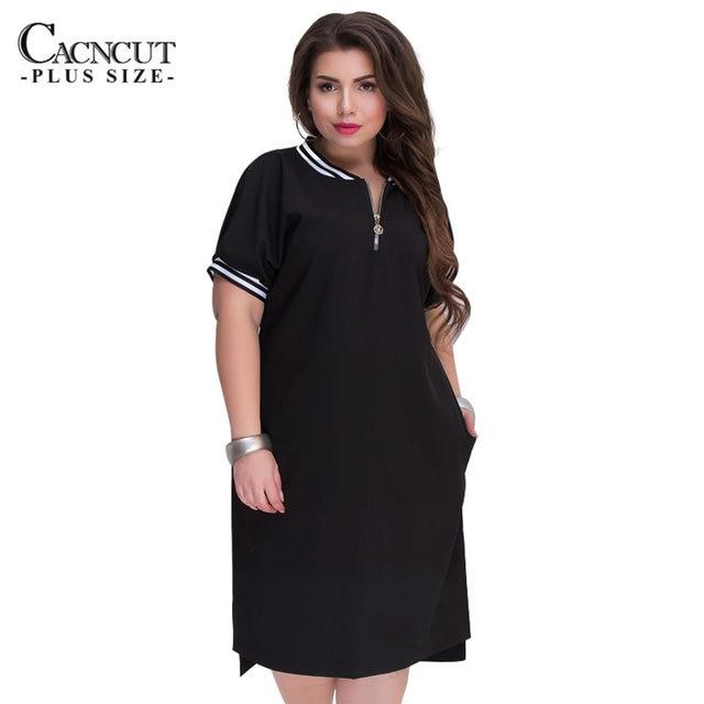 CACNCUT 5XL 6XL 2018 Большие размеры прямые платья женские с круглым вырезом на молнии Большие размеры лето повседневные свободные однотонные платья красные Vestidos