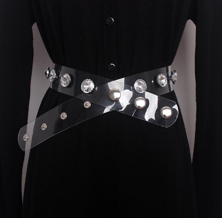 Women's Runway Fashion Diamonds Beaded Pvc Cummerbunds Female Dress Corsets Waistband Belts Decoration Wide Belt R1629