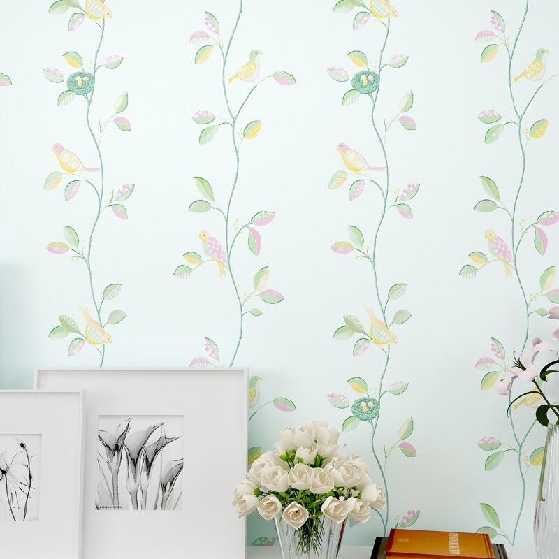 Деревенский романтический цветок 3D современный Товары для птиц Декор Обои листьев для стен, ТВ фоне стены Бумага roll Спальня стены Бумага 3 ц...
