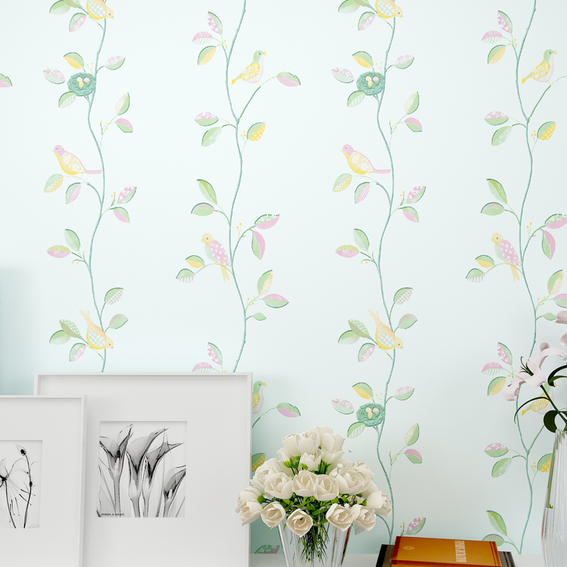Rustic Romantic Flower 3D Modern Birds Decor Wallpapers Leaf  for Walls,TV background Wallpaper Roll Bedroom Wall Paper 3 Colors modern wall papers home decor rustic romantic small flower non woven wallpaper roll for bedroom wallpapers floral for walls