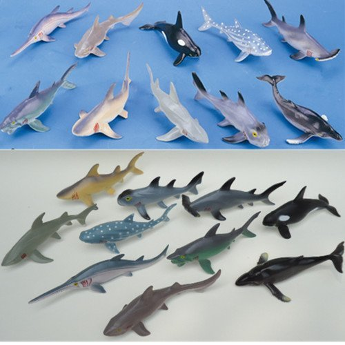 10 Pieces Lot Soft Plastic Big Sharks Model Set 15 20cm