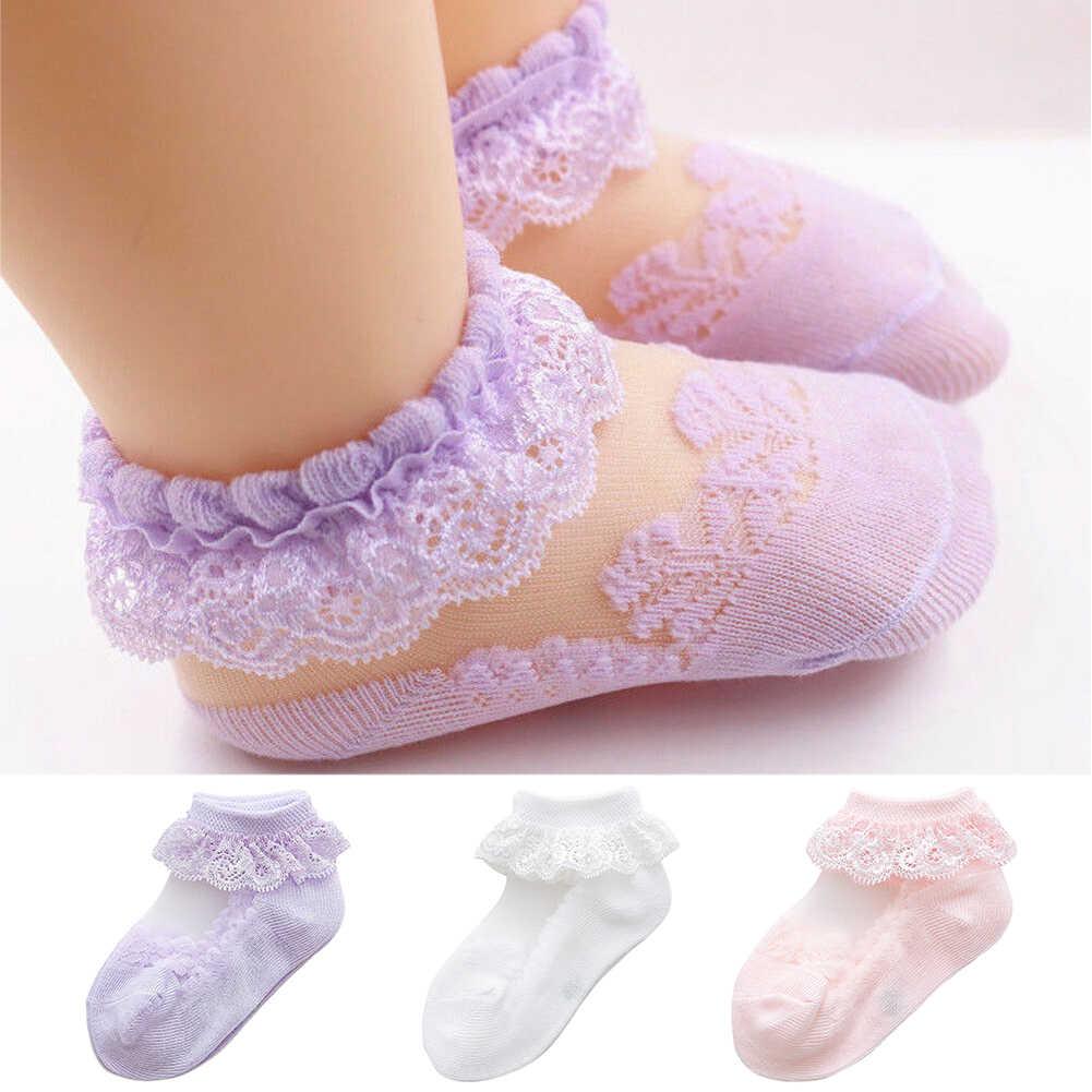 1 par de calcetines de tobillo bonitos para niñas bebé arco transpirable tutú corto Niños princesa recién nacido volantes de encaje de gasa de verano