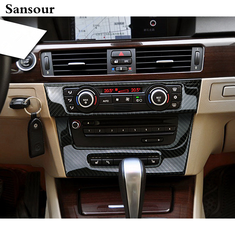 Sansour For BMW e90 e92 Interior Trim Carbon Fiber Air conditioning CD control panel decoration Car styling 3 series accessories