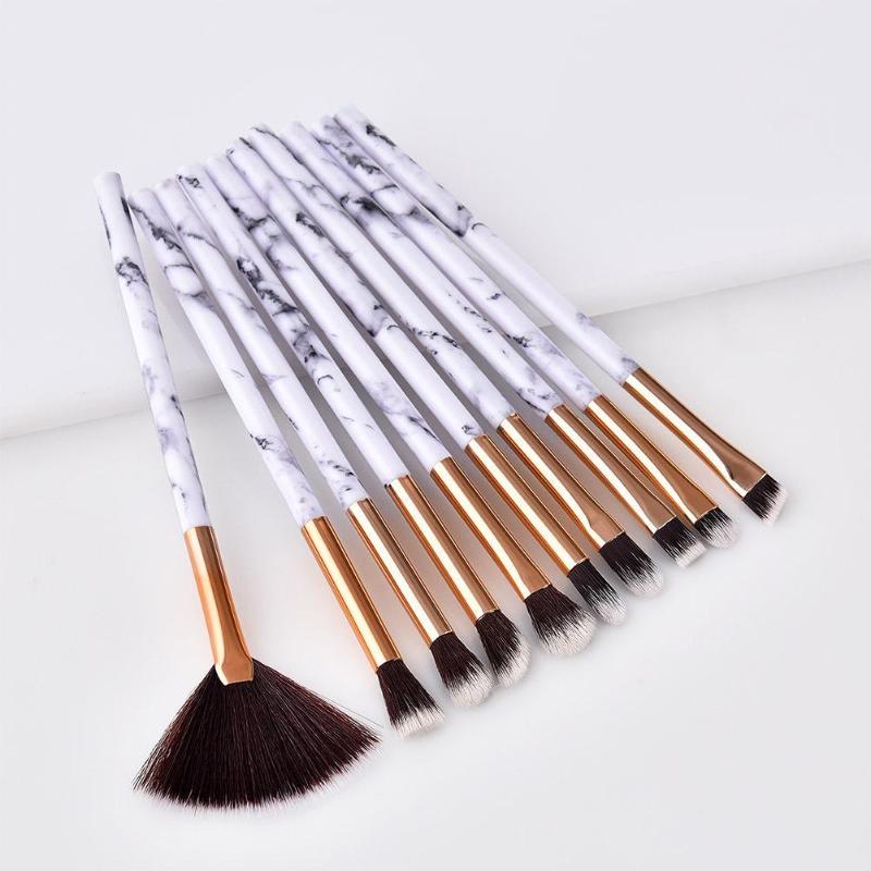 10Pcs/Set Marbling Makeup Brushes Set Marble Pattern Brush Set Eye Shadow Concealer Beauty Make Up Brush Kit Cosmetic Tools