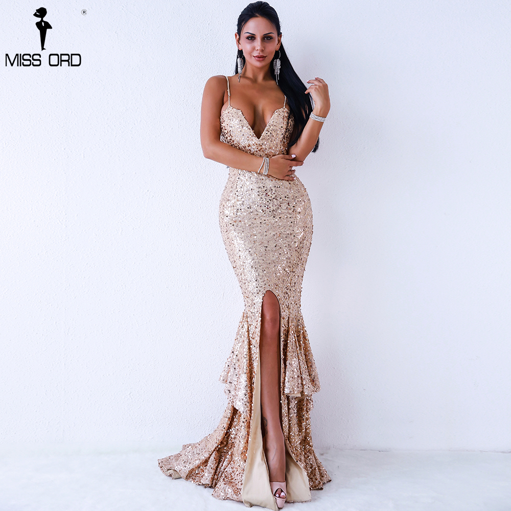 Missord 2018 v Cou Harnais Hors Épaule Sequin Robes Femme Milieu Divisé Robe Dos Nu Ruches Maxi Robe Vestdios FT18300