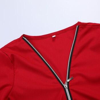 MONERFFI Zipper Short Sleeve Women Shirts Sexy V Neck Solid Women Top Blouses Casual Tee Shirt Tops Female Clothes Plus Sizes 6