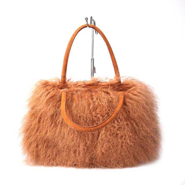 Ursfur Winter Fur Women Bag Purses Mongolian Sheep Handbag Lamb Shoulder Bags Messenger Las