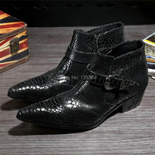 2017 Fashion Sell Leather Winter Ankle Boots Formal Men Boots Men's Pointed Toe Metal Tip Height Increased Dress Shoes Men Boots