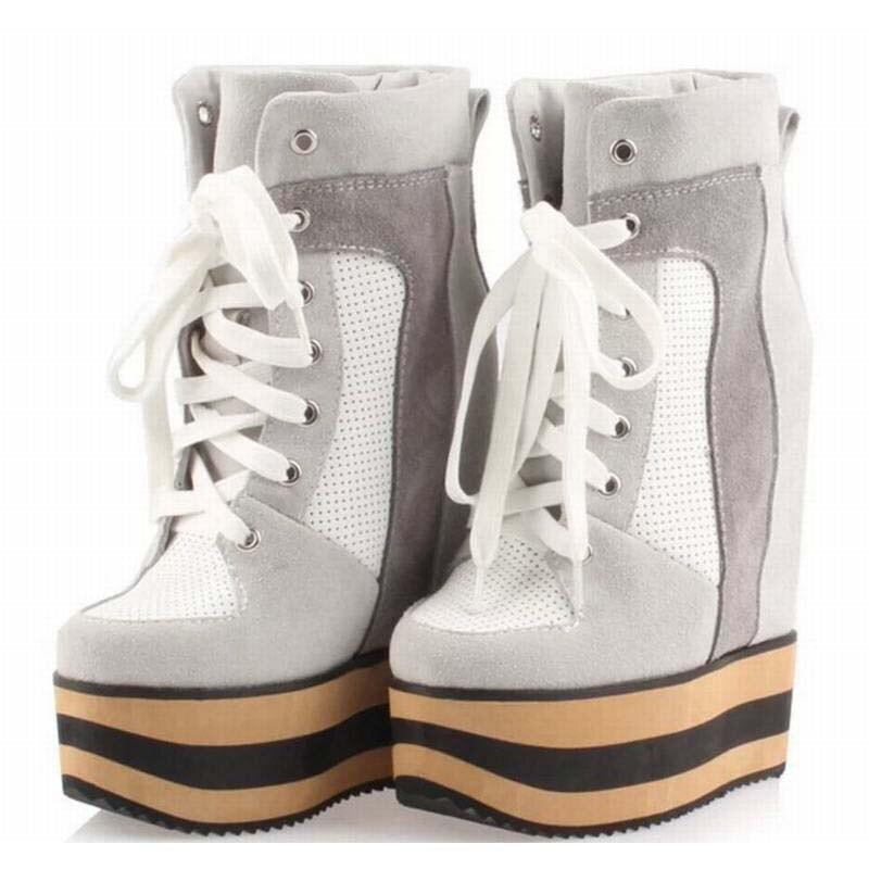 Женская обувь на платформе на скрытой танкетке Обувь на высоком каблуке на шнуровке Ботильоны Мода вырезами дышащая повседневная обувь нат