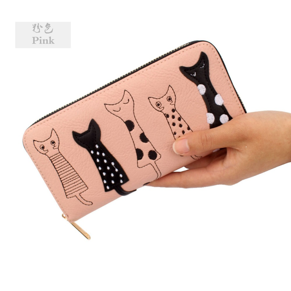 Cute cartoon Cat rfid wallet PU leather womens coin wallets and purses lady female clutch zipper change purse Card holder bags