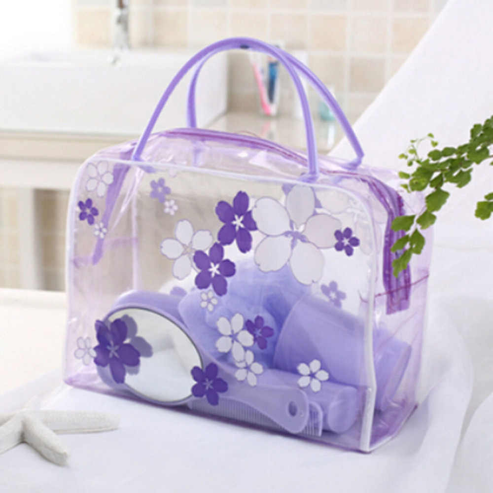 1PC Transparent Floral Waterproof PVC Cosmetic Bag Envelope Receive Toiletry Bags Skin Care Makeup Bag Organizer 5 Colors