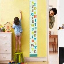 Милые улыбающееся лицо 26 букв высота измерения настенные наклейки для детей комнаты мультфильм ПВХ диаграмма роста настенные наклейки художественная роспись Декор