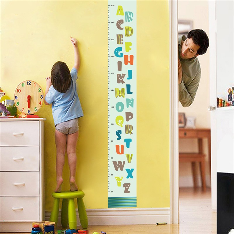 Lovely Smiling Face 26 Letters Height Measure Wall Stickers For Kids Rooms Cartoon Pvc Growth Chart Wall Decals Art Mural Decor