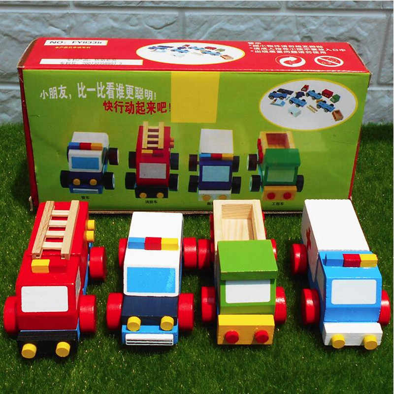 4pcs Wooden children's early education educational toys Wooden Car Models fire truck ambulance engineering vehicle