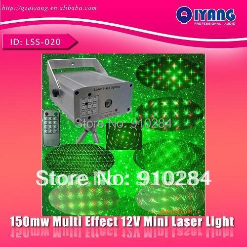 150mw red and green remote multi effect auto 12V mini laser stage party disco lighting